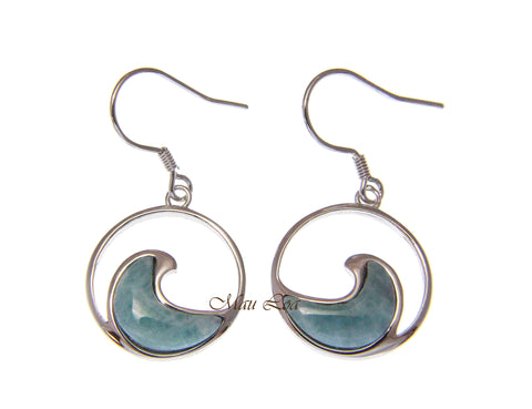 925 Sterling Silver Natural Larimar Hawaiian Ocean Wave Hook Dangle Earrings