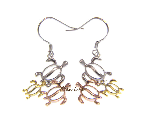925 Sterling Silver Hawaiian Tricolor Plated Turtle Honu Family Hook Earrings