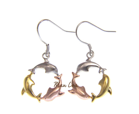925 Sterling Silver Hawaiian Tricolor Plated Dolphin Circle Hook Earrings