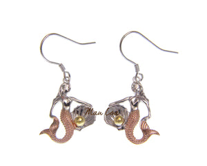 925 Sterling Silver Hawaiian Tricolor Mermaid Pearl in Shell Hook Earrings