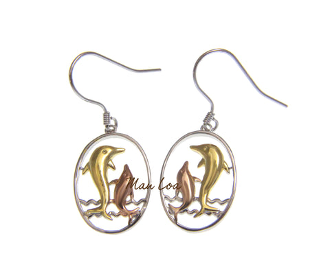 925 Sterling Silver Hawaiian Tricolor Plated Dolphin in Oval Wave Hook Earrings