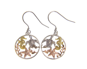 925 Silver Hawaiian Tricolor Sea Turtle Seahorse Starfish Circle Hook Earrings