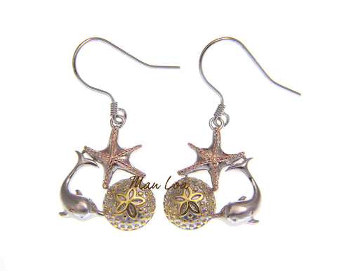 925 Sterling Silver Hawaiian Tricolor Dolphin Starfish Sand Dollar Hook Earrings