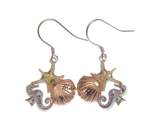 925 Sterling Silver Hawaiian Tricolor Starfish Shell Seahorse Hook Earrings