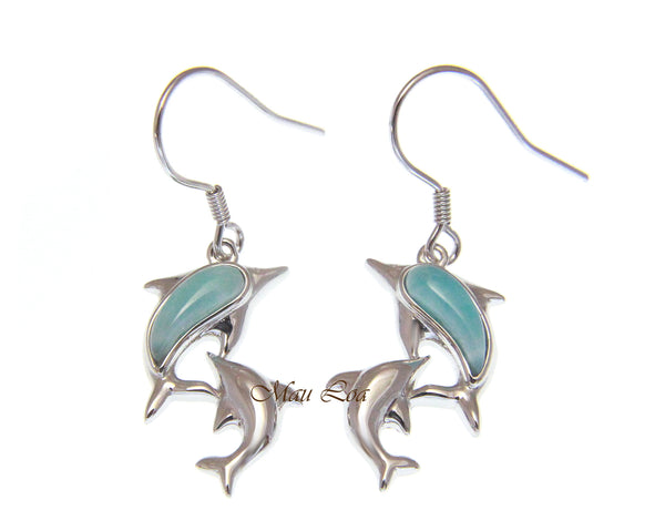925 Sterling Silver Natural Larimar Hawaiian Double Dolphin Hook Dangle Earrings