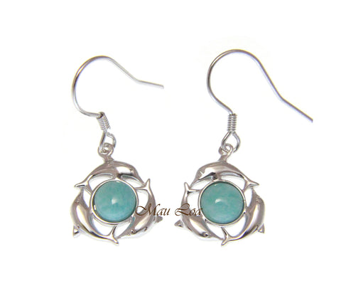 925 Sterling Silver Hawaiian Dolphin Natural Blue Larimar Hook Dangle Earrings
