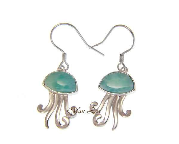 925 Sterling Silver Hawaiian Jellyfish Natural Blue Larimar Hook Dangle Earrings