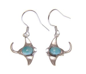 925 Sterling Silver Natural Larimar Hawaiian Manta Ray Fish Hook Dangle Earrings