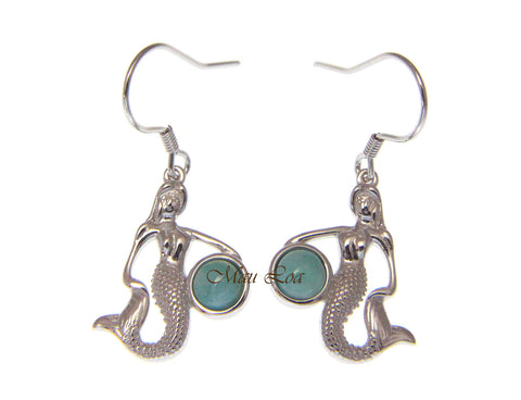 925 Sterling Silver Hawaiian Mermaid Natural Blue Larimar Hook Dangle Earrings