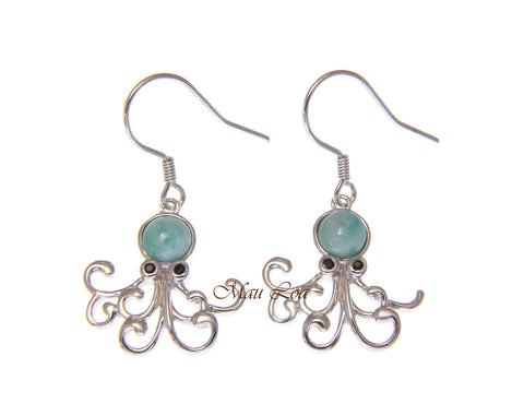 925 Sterling Silver Natural Larimar Hawaiian Octopus CZ Eye Hook Dangle Earrings