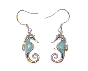 925 Sterling Silver Hawaiian Seahorse Natural Blue Larimar Hook Dangle Earrings
