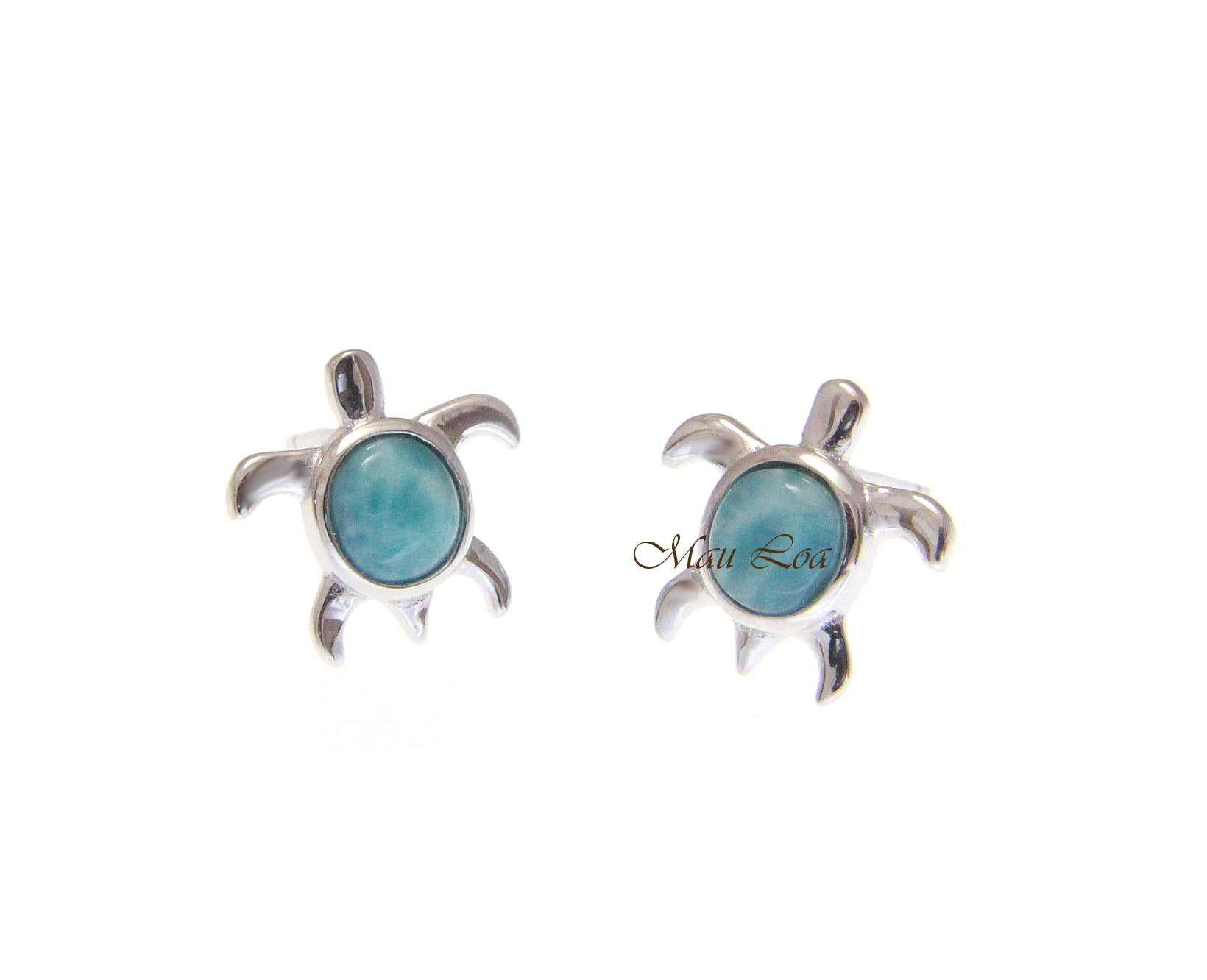 925 Sterling Silver Natural Larimar Hawaiian Honu Sea Turtle Post Stud Earrings