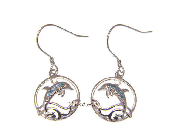 925 Sterling Silver Blue Topaz Hawaiian Dolphin Ocean Wave Wire Hook Earrings