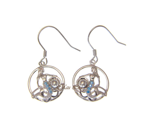 925 Sterling Silver Blue Topaz Hawaiian Mermaid Pearl Shell Wire Hook Earrings
