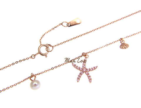 925 Silver Rose Gold Hawaiian Starfish CZ Pearl Necklace Chain Included 16+1""