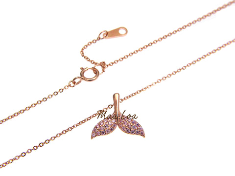 925 Silver Rose Gold Plated Hawaiian Whale Tail CZ Necklace Chain Included 16+1""