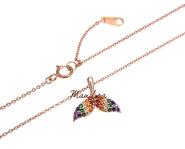 925 Silver Rose Gold Hawaiian Whale Tail Multi CZ Necklace Chain Included 16+1""