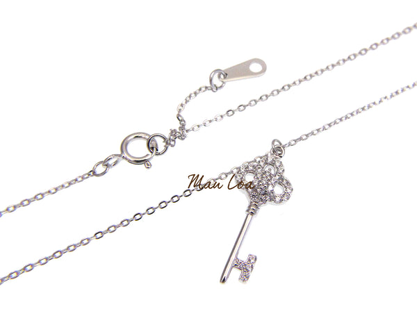 925 Sterling Silver Key Clear CZ Cubic Zirconia Necklace Chain Included 16+1""