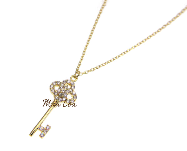 925 Sterling Silver Yellow Gold Plated Key CZ Necklace Chain Included 16+1""