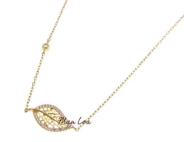 925 Sterling Silver Yellow Gold Hawaiian Leaf CZ Necklace Chain Included 16+2""