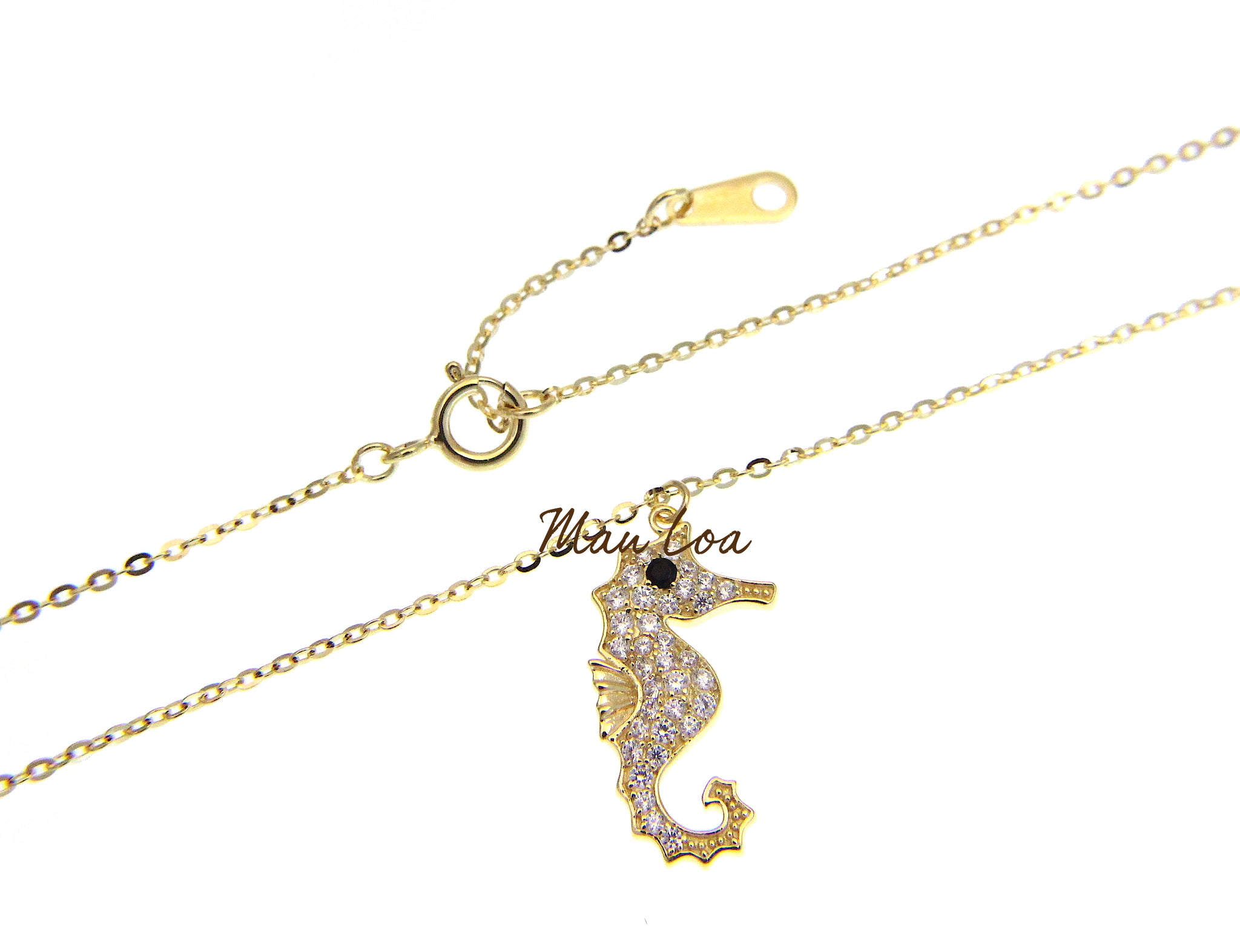 925 Sterling Silver Yellow Hawaiian Seahorse CZ Necklace Chain Included 16+1""