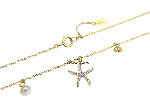 925 Silver Yellow Gold Hawaiian Starfish CZ Pearl Necklace Chain Included 16+1""