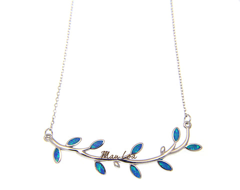 "925 Sterling Silver Hawaiian Maile Leaf Blue Opal Necklace Chain Included 16""+2"""