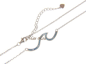 925 Sterling Silver Hawaiian Ocean Wave Blue Topaz Necklace Chain Included 16+2""