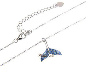 925 Sterling Silver Hawaiian Whale Tail Blue Topaz Necklace Chain Included 16+1""