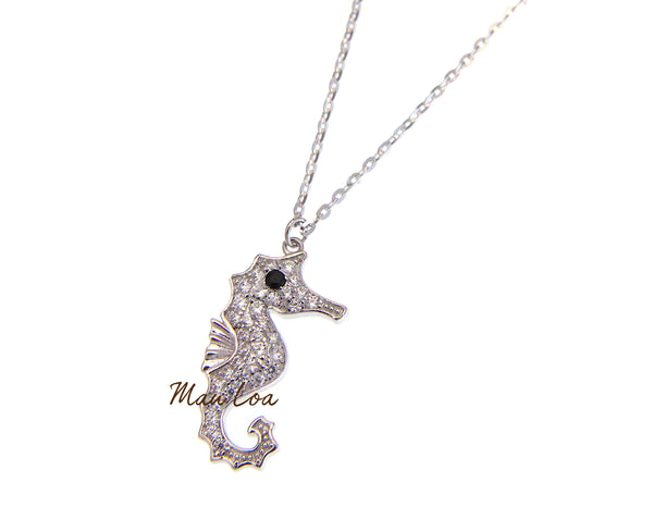 925 Sterling Silver Hawaiian Seahorse CZ Cubic Necklace Chain Included 16+1""