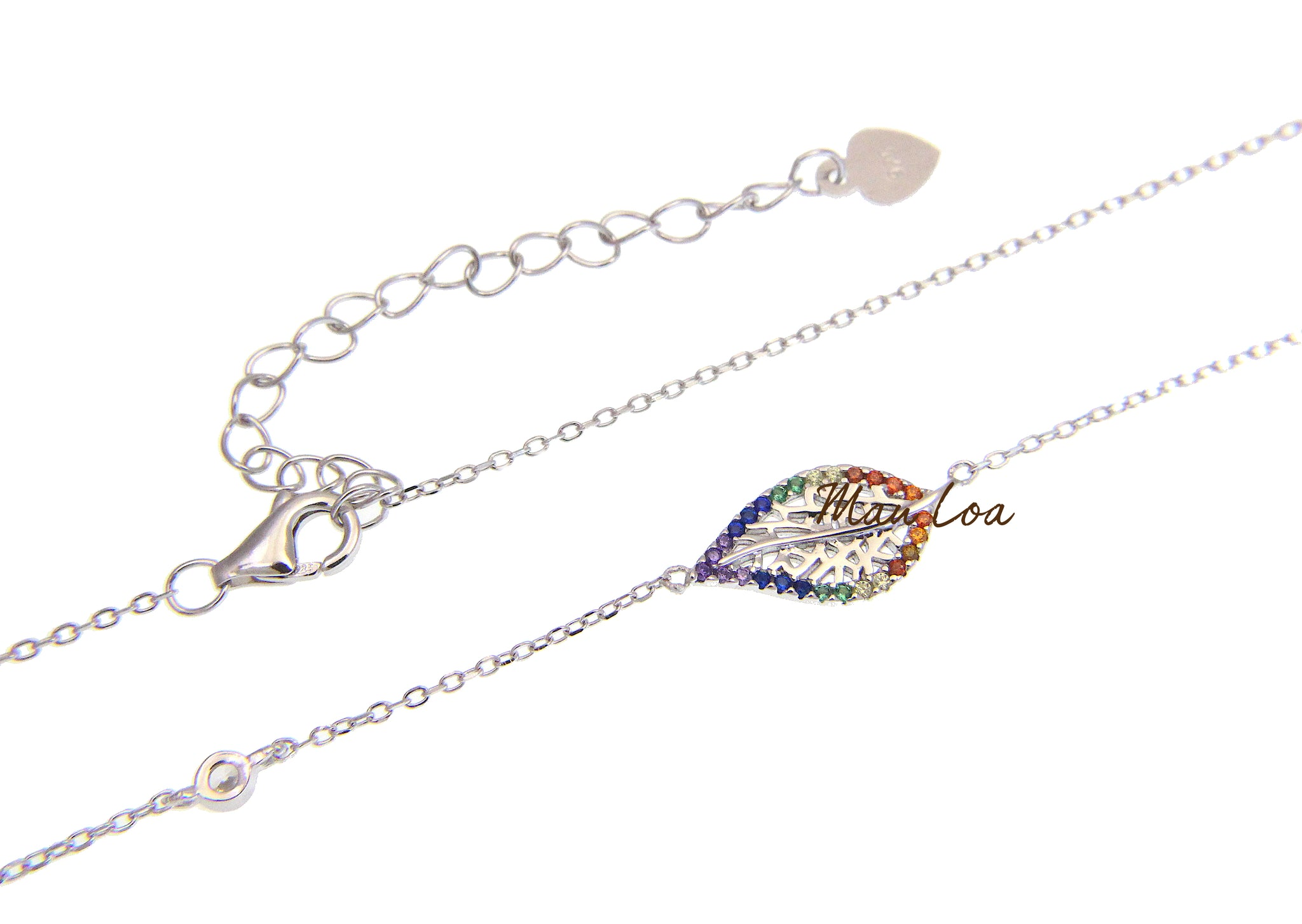 925 Sterling Silver Hawaiian Leaf Multi Color CZ Necklace Chain Included 16+2""