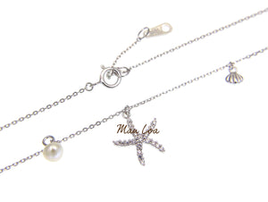 925 Sterling Silver Hawaiian Starfish CZ Pearl Necklace Chain Included 16+1""