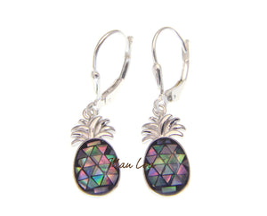 925 Sterling Silver Hawaiian Pineapple Abalone Paua Shell Leverback Earrings