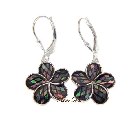 925 Sterling Silver Hawaiian Plumeria Abalone Paua Shell Leverback Earrings