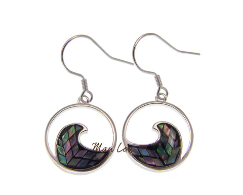 925 Sterling Silver Hawaiian Ocean Wave Abalone Paua Shell Wire Hook Earrings