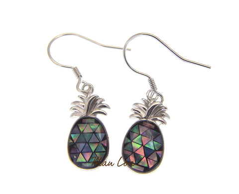 925 Sterling Silver Hawaiian Pineapple Abalone Paua Shell Wire Hook Earrings