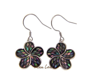 925 Sterling Silver Hawaiian Plumeria Flower Abalone Paua Shell Hook Earrings