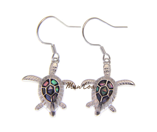 925 Sterling Silver Hawaiian Sea Turtle Honu Abalone Shell CZ Hook Wire Earrings