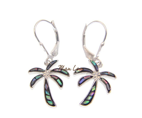 925 Sterling Silver Hawaiian Palm Tree Abalone Paua Shell Leverback Earrings