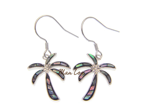 925 Sterling Silver Hawaiian Palm Tree Abalone Paua Shell Wire Hook Earrings