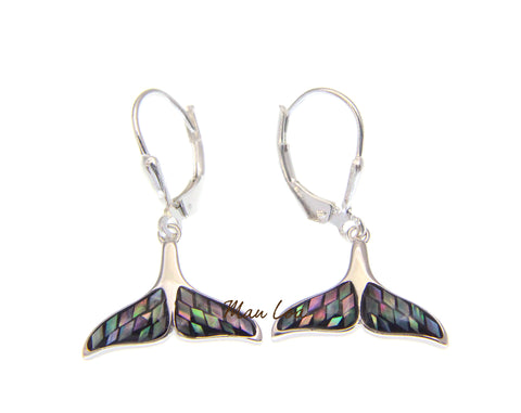 925 Sterling Silver Hawaiian Whale Tail Abalone Shell Leverback Dangle Earrings
