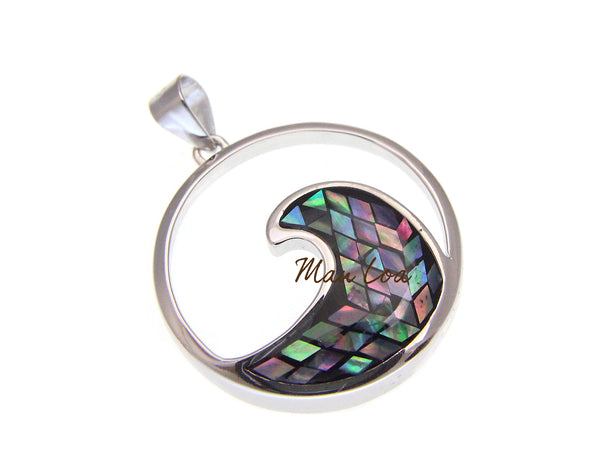 925 Sterling Silver Hawaiian Ocean Wave 22mm Circle Abalone Paua Shell Pendant