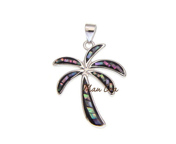 925 Sterling Silver Hawaiian Palm Tree Abalone Paua Shell Pendant