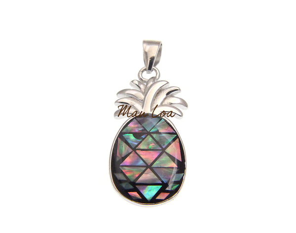 925 Sterling Silver Hawaiian Pineapple Abalone Paua Shell Pendant