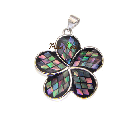 925 Sterling Silver Hawaiian Plumeria 22mm Flower Abalone Paua Shell Pendant