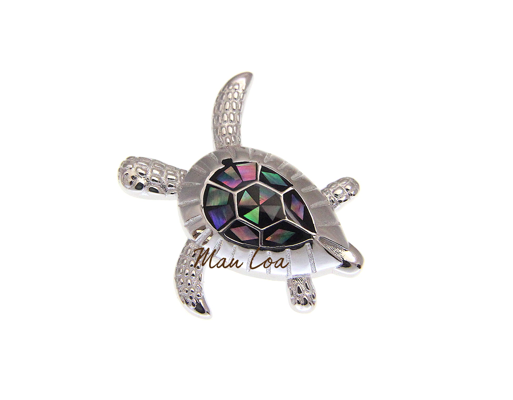 925 Sterling Silver Hawaiian Sea Turtle Honu Abalone Paua Shell Slider Pendant