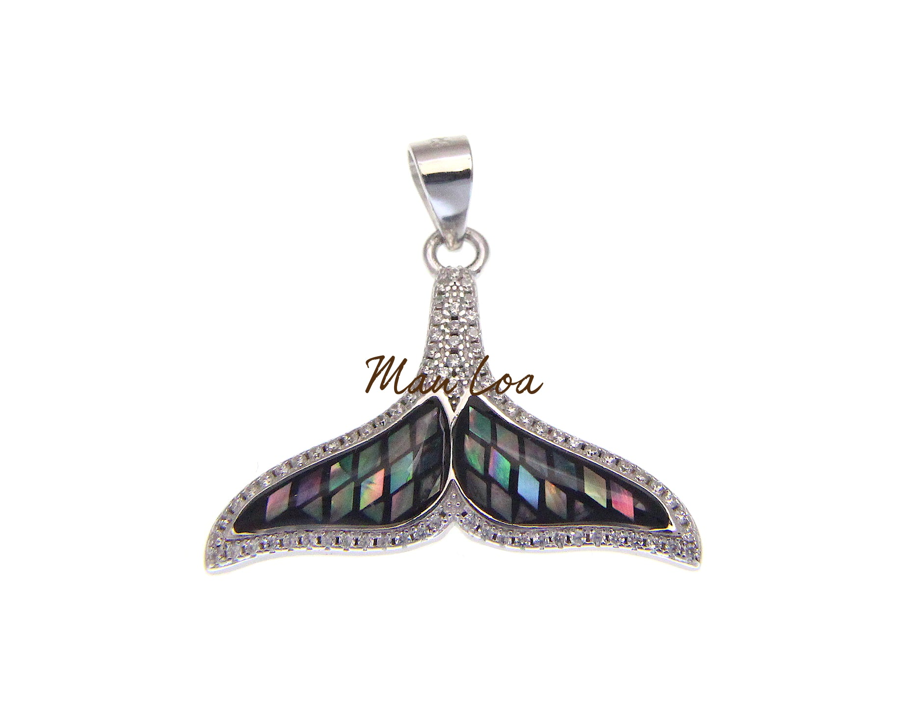 925 Sterling Silver Hawaiian Whale Tail CZ Cubic Abalone Paua Shell Pendant