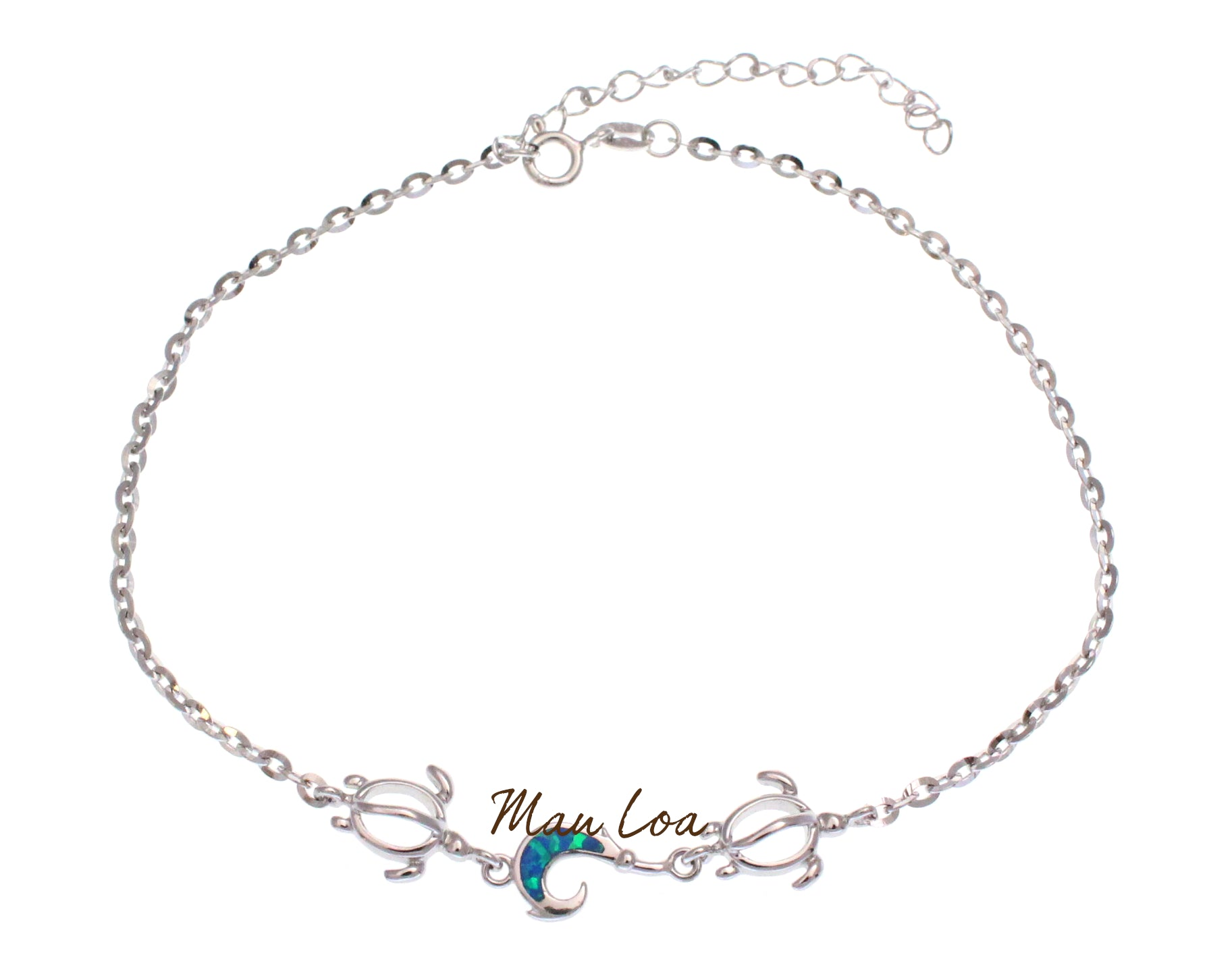 "925 Sterling Silver Hawaiian Fish Hook Honu Turtle Blue Opal Anklet 8.5"" + 2"""