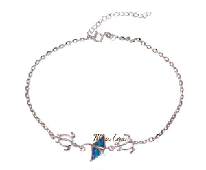 "925 Sterling Silver Hawaiian Manta Ray Honu Turtle Blue Opal Anklet 8.5"" + 2"""
