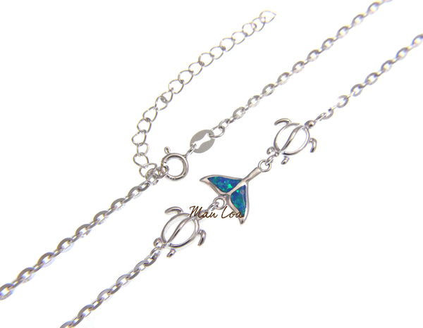 "925 Sterling Silver Hawaiian Whale Tail Honu Oval Opal Plate Anklet 8.5"" + 2"""